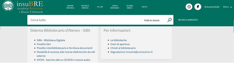 Homepage portale Insubre