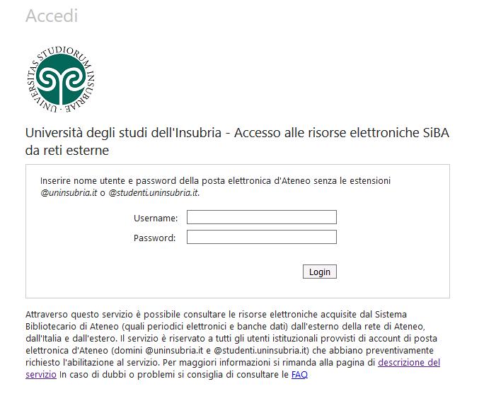 Maschera di autenticazione sul servizio di accesso alle risrse elettroniche da reti esterne