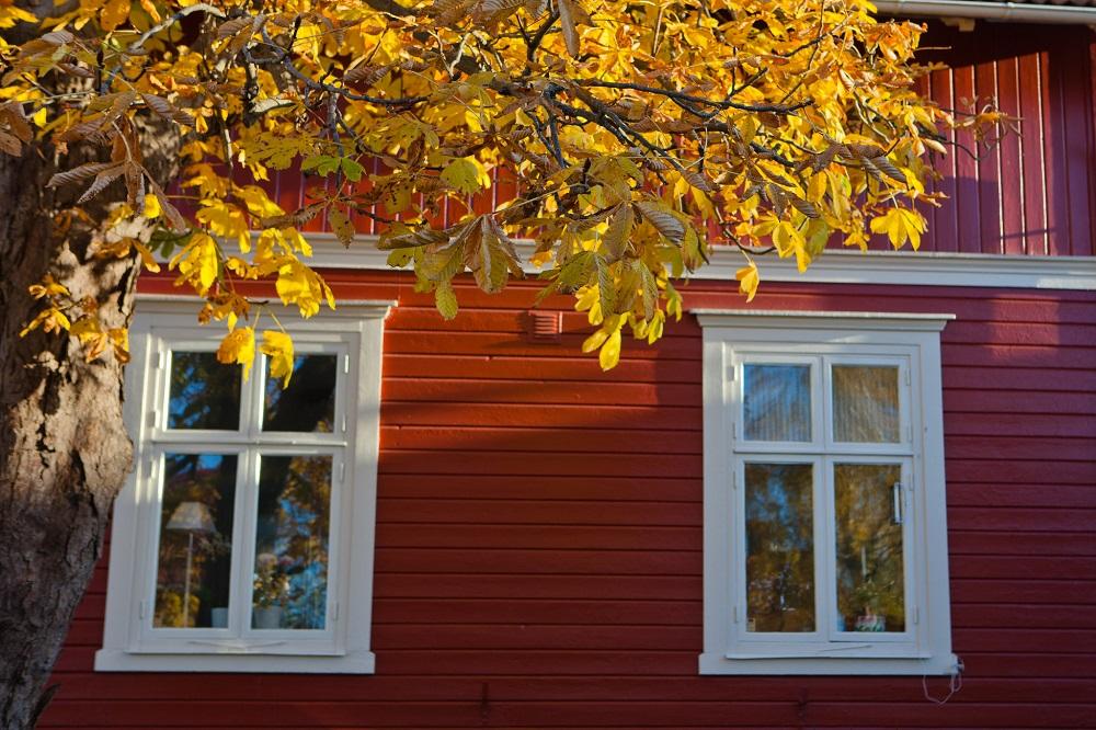 Vaxholm. Fönster på hus.