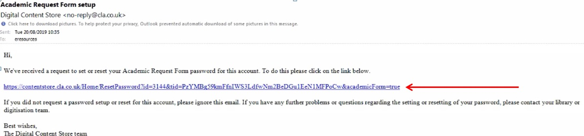 Screenshot of e-mail with an arrow pointing at the link that should be clicked on