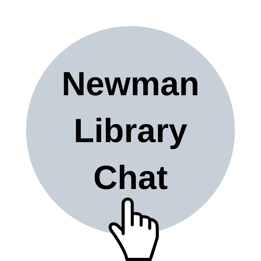 Image indicating to click on link to access Newman Library Chat