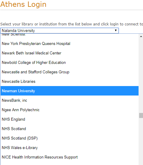 Picture of OpenAthens log in box. There is a drop down menu listing different academic institutions