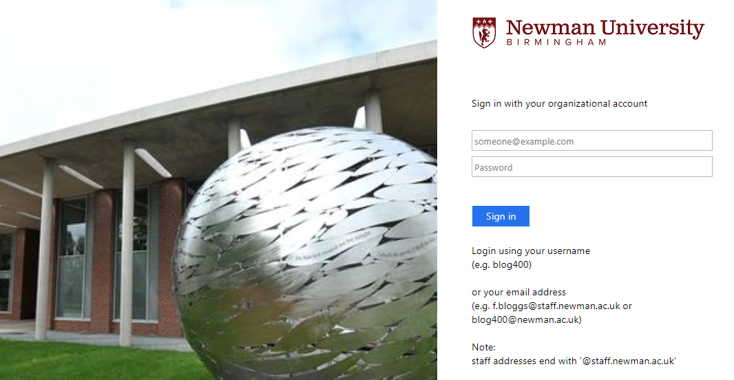 Picture of log in screen. There is a picture of Newman University on the left hand side. On the right hand side there are fields to enter the username and password
