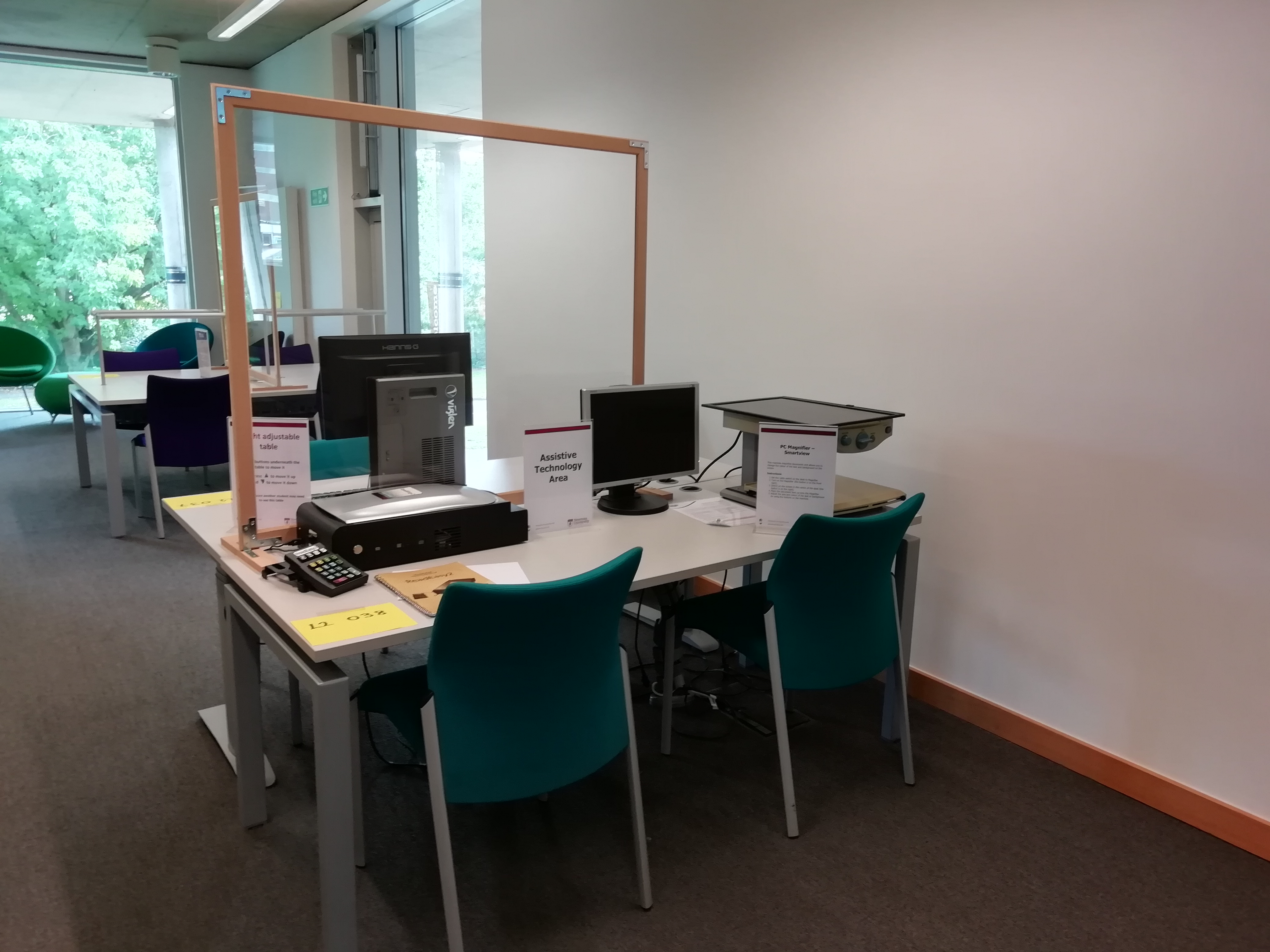 Example of individual study space with access to assistive technology