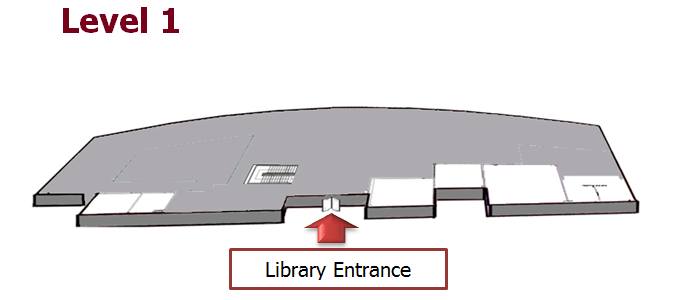 The plan shows the whole of the entrance floor of the library, Level 1 is a Learning zone.