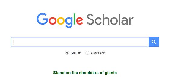 Google Scholar homepage