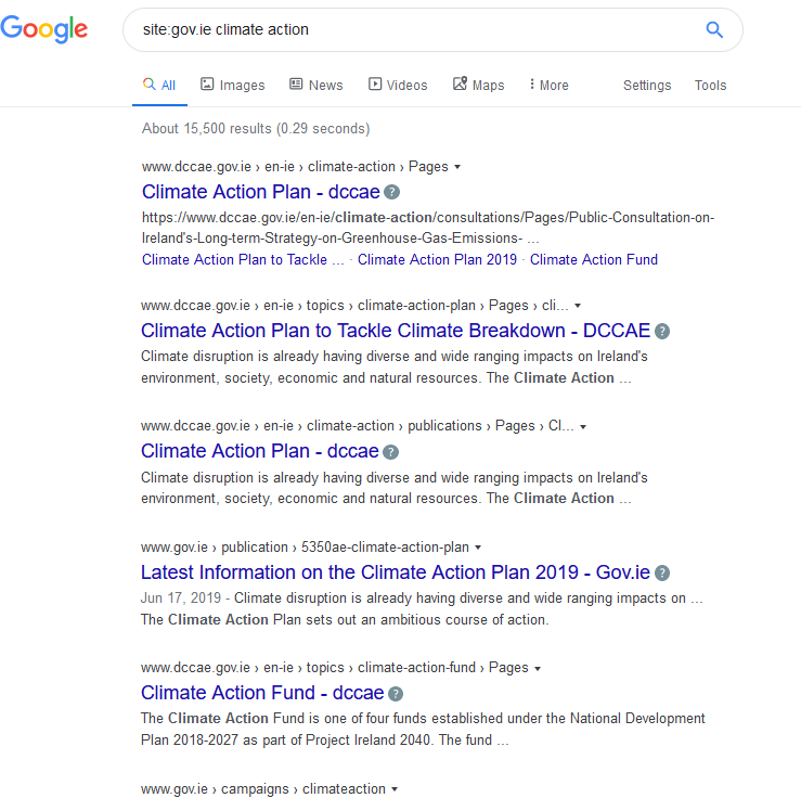 "Google search using the ""site"" file - site:gov.ie"
