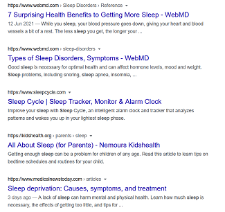 Google search results for sleep