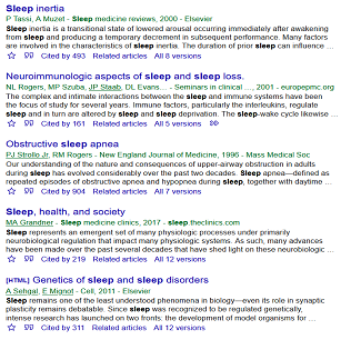Google Scholar sleep results