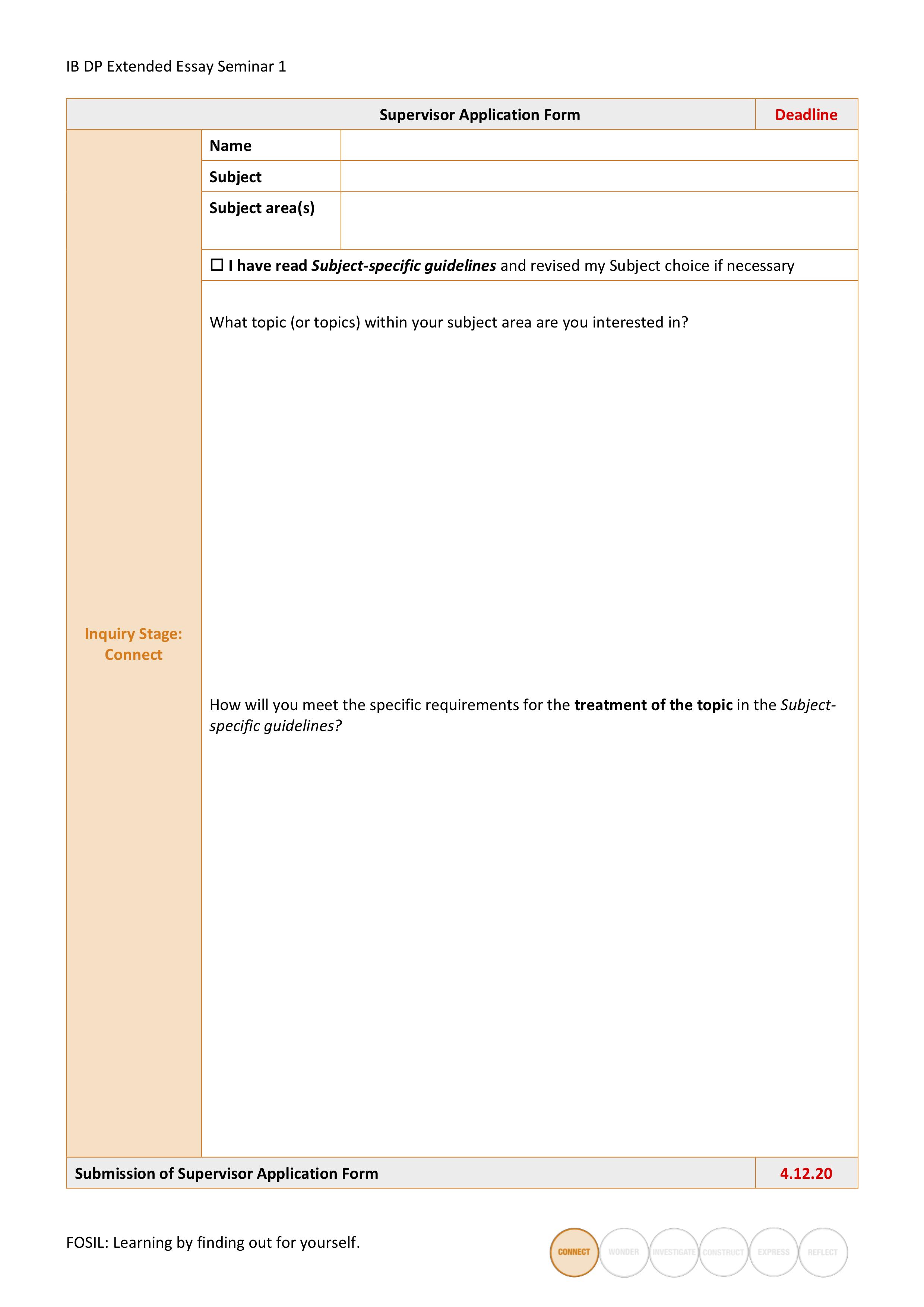 Supervisor application form