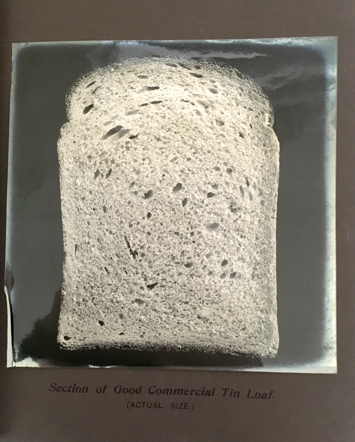 A bromide photograph showing a cross section of a 1903 commercial tin loaf