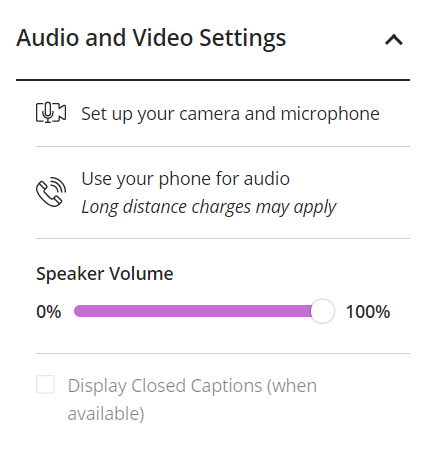 Audio and video settings list