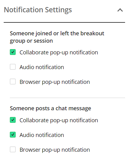 Notification options list