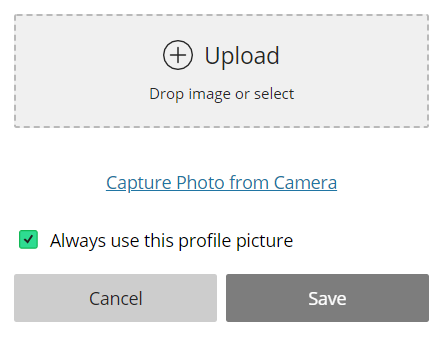 Upload button: Drop image or select. Capture photo from camera