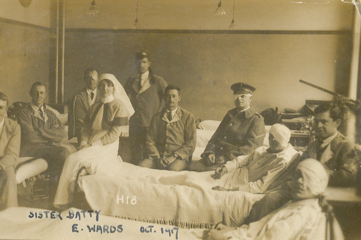 Sister Batty with patients at the Beckett Park military hospital