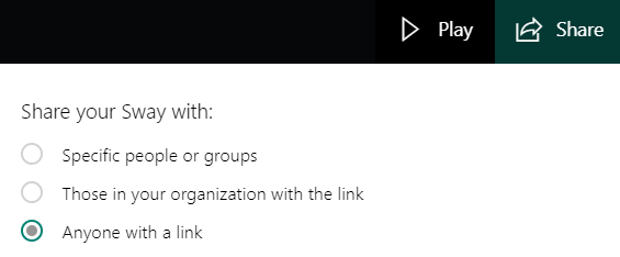 sway sharing options with anyone with a link selected
