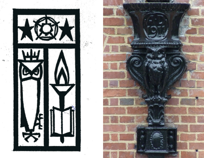 The 1968 stylised emblem of the City of Leeds College of Education and owl rainwater head Headingley Campus from 1911