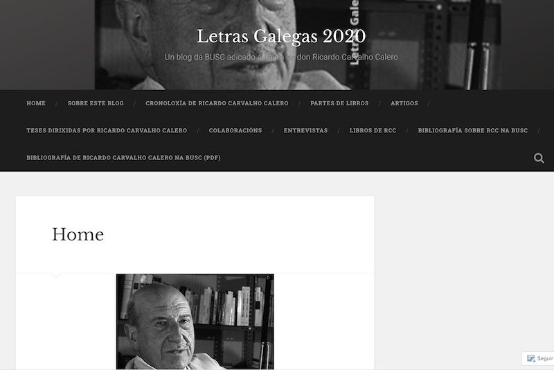 Letras Galegas 2020 - Ricardo Carvalho Calero - Blog