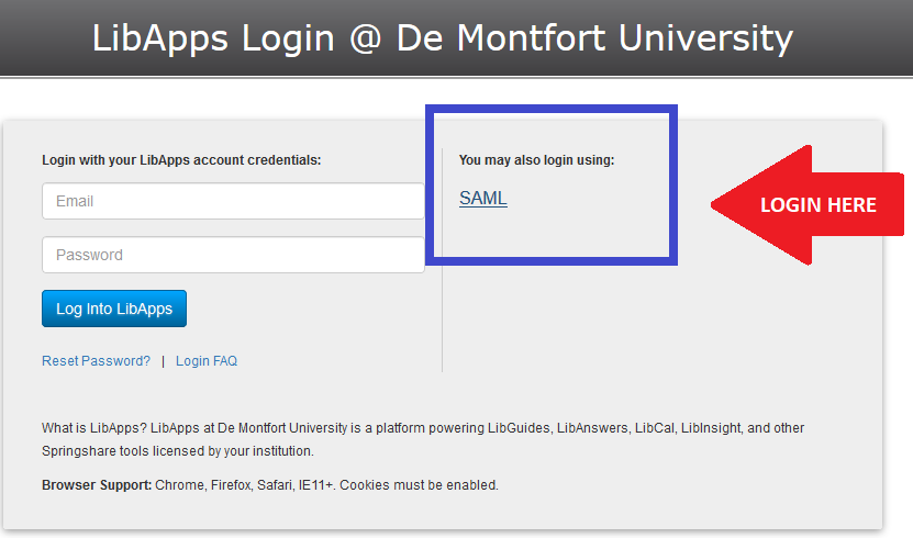 Login to online tutorials via right-hand SAML link