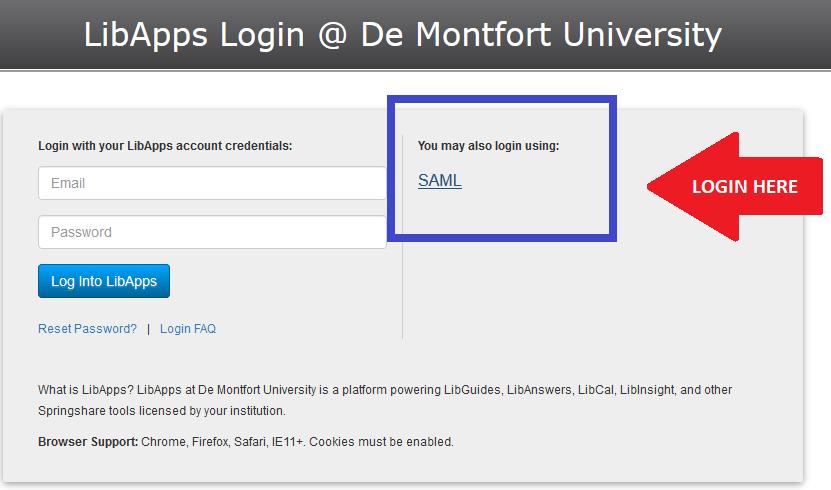 Screenshot showing the SAML log in