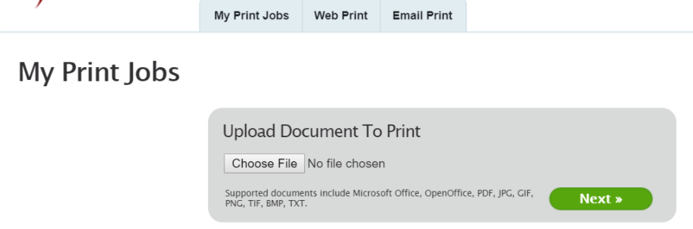 Screenshot of My Print Jobs page