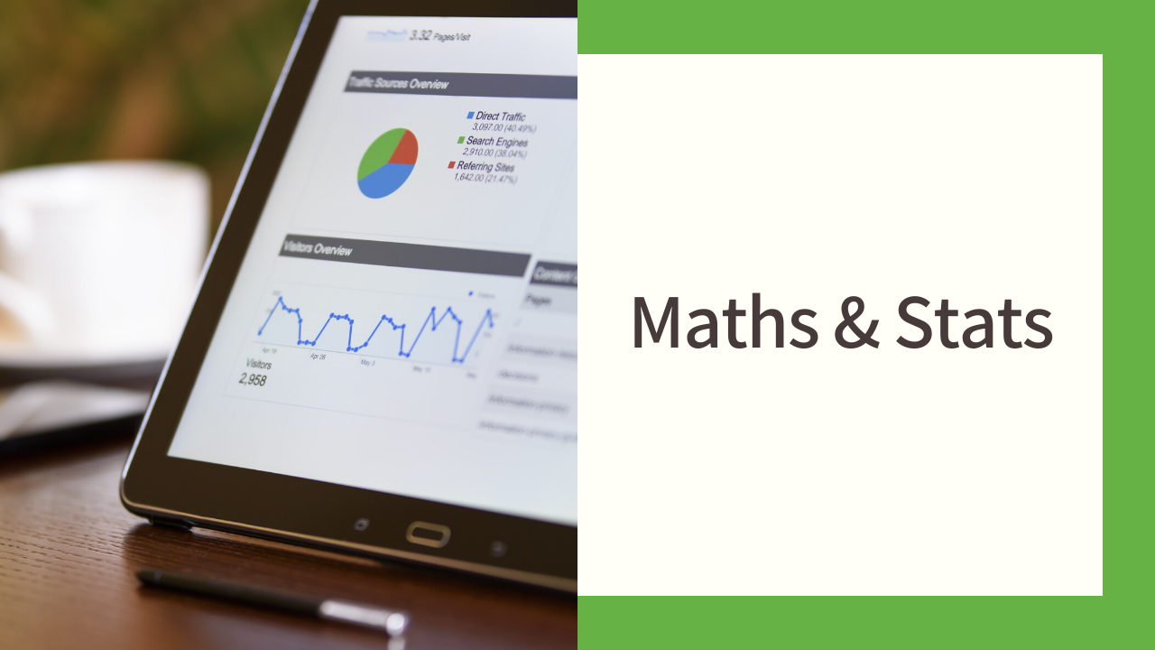 MASH banner featuring a tablet with graphs and the text 'Maths & Stats'