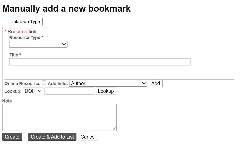 Screenshot showing manual bookmark screen in Talis Aspire Reading Lists