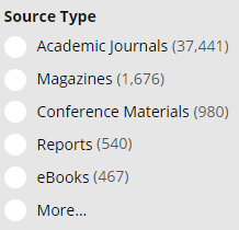 Screen shot of Source Type options available on the results page from the library website