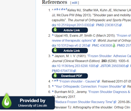 Screenshot of Wikipedia with LibKey Nomad links next to references