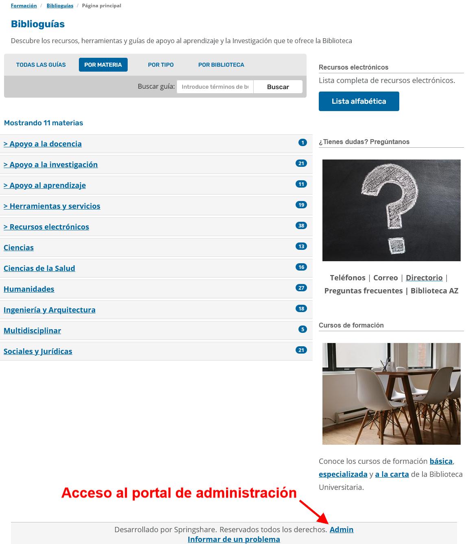 Portada de Biblioguías. Ubicación del enlace Admin para el acceso a las opciones de administración.